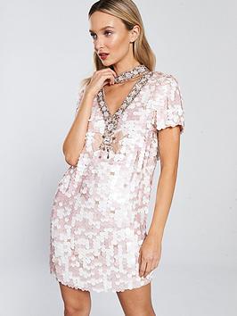 river-island-river-island-premium-sequin-shift-dress-pink