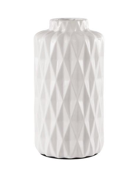 glazed-white-faceted-vase