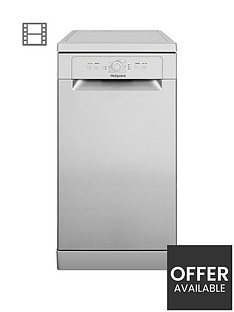 hotpoint-hsfe1b19s-10-place-slimline-dishwasher-with-quick-wash-silver