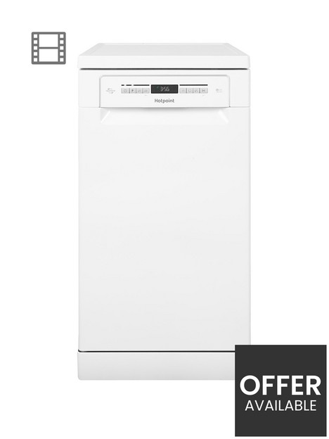 hotpoint-clover-hsfo3t223wukn-10-place-slimline-dishwasher-with-quick-wash-and-3d-zone-wash-white