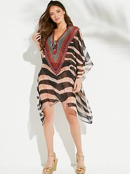 forever-unique-zebra-print-lace-up-kaftan-animal-print