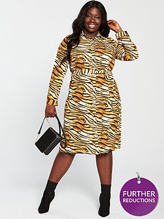 v-by-very-curve-printed-shirt-dress-tiger-print