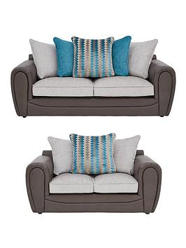Very Calluna Faux Snakeskin And Fabric 3 Seater + 2 Seater Scatter Back  ... Picture