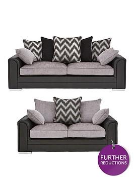 sansanbspfaux-snakeskin-and-fabric-3-seaternbsp-2-seaternbspscatter-back-sofa-set-buy-and-save