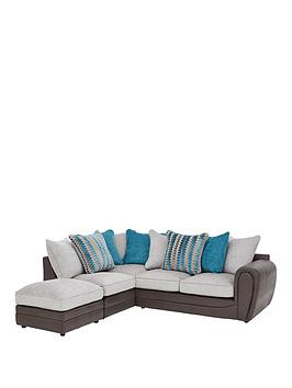 Very Calluna Fabric Left Hand Scatter Back Corner Chaise Sofa And Footstool Picture