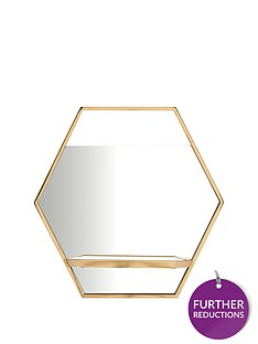 hexagon-gold-shelf-mirror