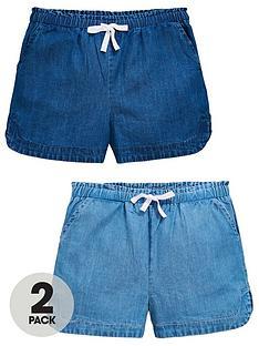 v-by-very-girls-2-pack-denim-runner-shorts-blue