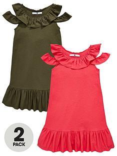 v-by-very-girls-2-pack-cold-shoulder-jersey-dresses-multi