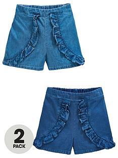 mini-v-by-very-girls-2-pack-frill-denim-shorts-blue