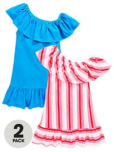 v-by-very-girls-2-pack-one-shoulder-ruffle-dresses-multi