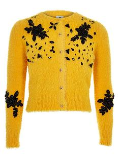 river-island-girls-yellow-fluffy-embellished-cardigan