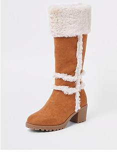 river-island-girls-tan-faux-suede-calf-boots