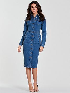 Michelle Keegan Michelle Keegan Long Sleeve Denim Bodycon Dress - Blue Picture
