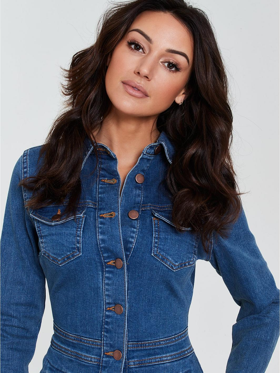 Long Sleeve Denim Bodycon Dress - Blue
