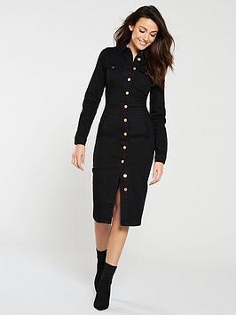 f846983eed90 Michelle Keegan Long Sleeve Denim Bodycon Dress - Black | littlewoods.com