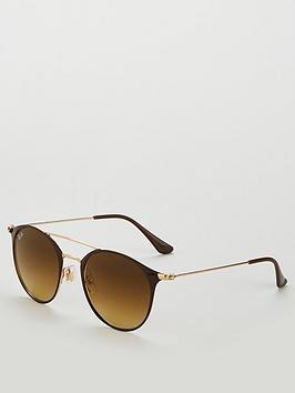 ray-ban-brow-bar-square-sunglasses-browngold