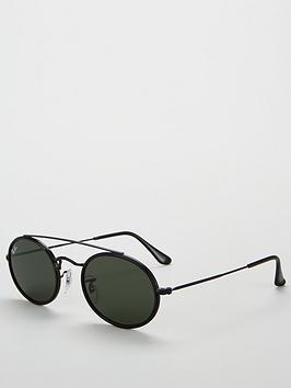 ray-ban-oval-metal-brow-bar-tinted-sunglasses-black