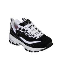 c120813102 Skechers D'lites Layered Lace Up Trainers - Black/White | littlewoods.com