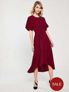 whistles-textured-belted-open-back-dipped-midi-dress-red