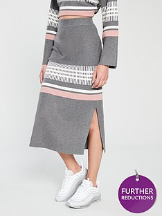 aad6f8933 NATIVE YOUTH Native Youth Janelle Placement Stripe Knitted Tube Skirt