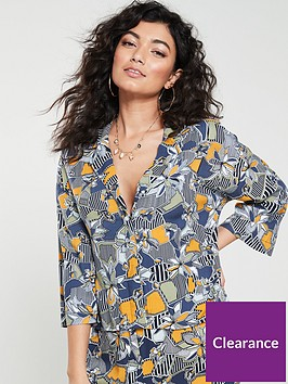 native-youth-geo-flora-revere-collar-printed-blouse-multi