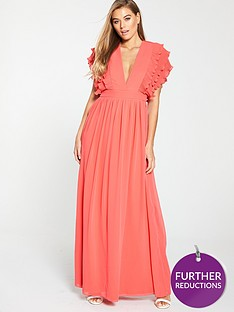 u-collection-forever-unique-ruffle-layer-sleeve-maxi-dress-coral