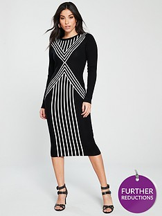 karen-millen-chevron-stripe-knit-dress-black-white