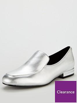 karen-millen-leather-loafer-shoe-silver