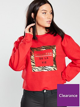 river-island-foil-print-sweatshirt-red