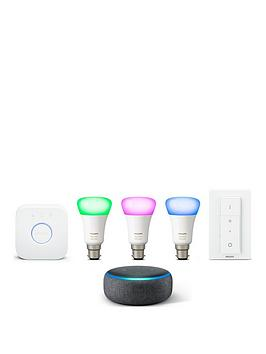 philips-hue-white-and-colour-ambiance-b22-starter-and-echo-dot-3rd-gen-black