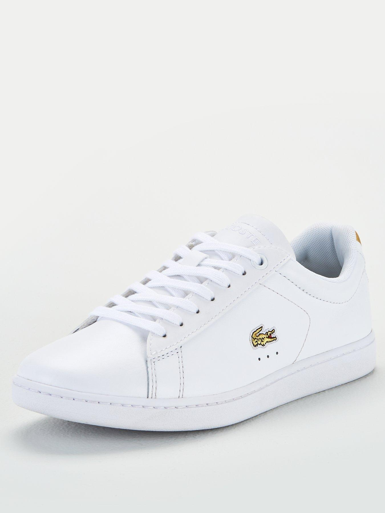 Navy Womens Lacoste Carnaby Evo Leather Slip Trainers In White