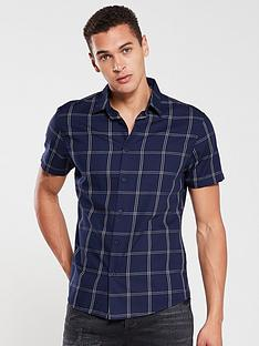 v-by-very-short-sleeved-grid-check-shirt-navy
