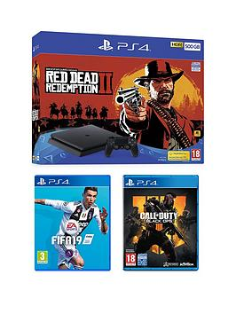 playstation-4-red-dead-redemption-2-500gbnbspps4-bundle-with-call-of-duty-black-ops-4-fifa-19-and-optional-extras
