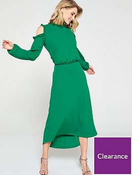 v-by-very-ruffle-cold-shoulder-dress-apple-green