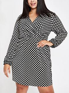 ri-plus-polka-dot-plisse-wrap-dress