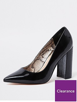 river-island-wide-fit-block-heel-court-shoes-black