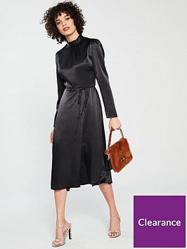 river-island-waisted-midi-dress-black