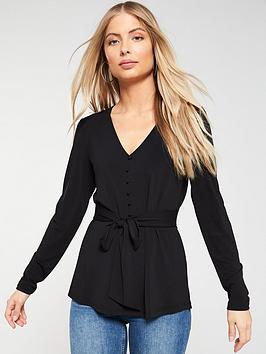 v-by-very-tie-waist-button-belted-blouse-black