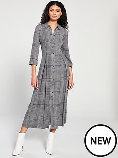 warehouse-warehouse-houndstooth-check-midi-shirt-dress