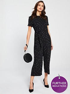 warehouse-estella-star-print-jumpsuit-black