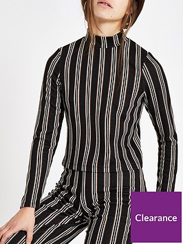 ri-petite-stripe-jersey-top-black