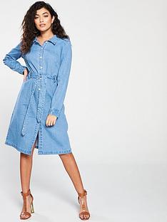 vero-moda-julia-long-sleeve-denim-shirt-dress-blue