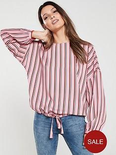 vero-moda-long-sleeve-tie-top-pink