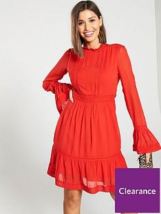 yas-sanika-tiered-crochet-ruffled-dress-red