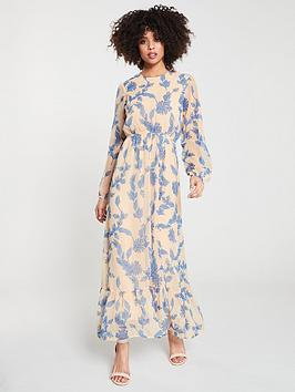 yas-beatea-gathered-waist-maxi-dress-floral
