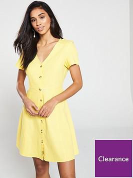vero-moda-vero-moda-yellow-short-dress-with-v-neck-and-button-detailing