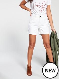 vero-moda-vero-moda-high-waisted-white-denim-shorts