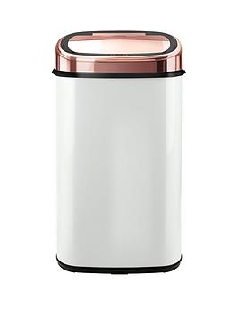 tower-linear-58-litre-square-sensor-bin-in-rose-gold-and-white-free-20-pack-of-bin-liners