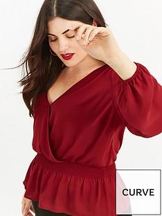 oasis-curve-oasis-curve-curve-plain-wrap-front-smocked-blouse