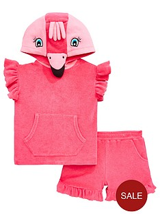 7a60a0f5403 Mini V by Very Girls 2 Piece Flamingo Towel Top and Shorts Outfit - Pink